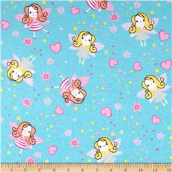 Flannel Prints Fairies Aqua