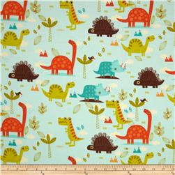 Riley Blake Dinosaur Flannel Main Blue Fabric
