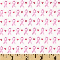 Think Pink Ribbons Small White/Pink Fabric