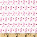 Think Pink Ribbons Small White/Pink
