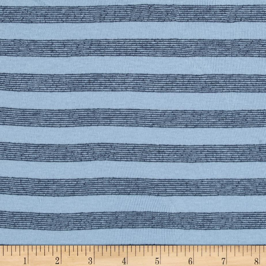 Cotton Blend Baby Rib Knit Stripes Navy/Light Blue