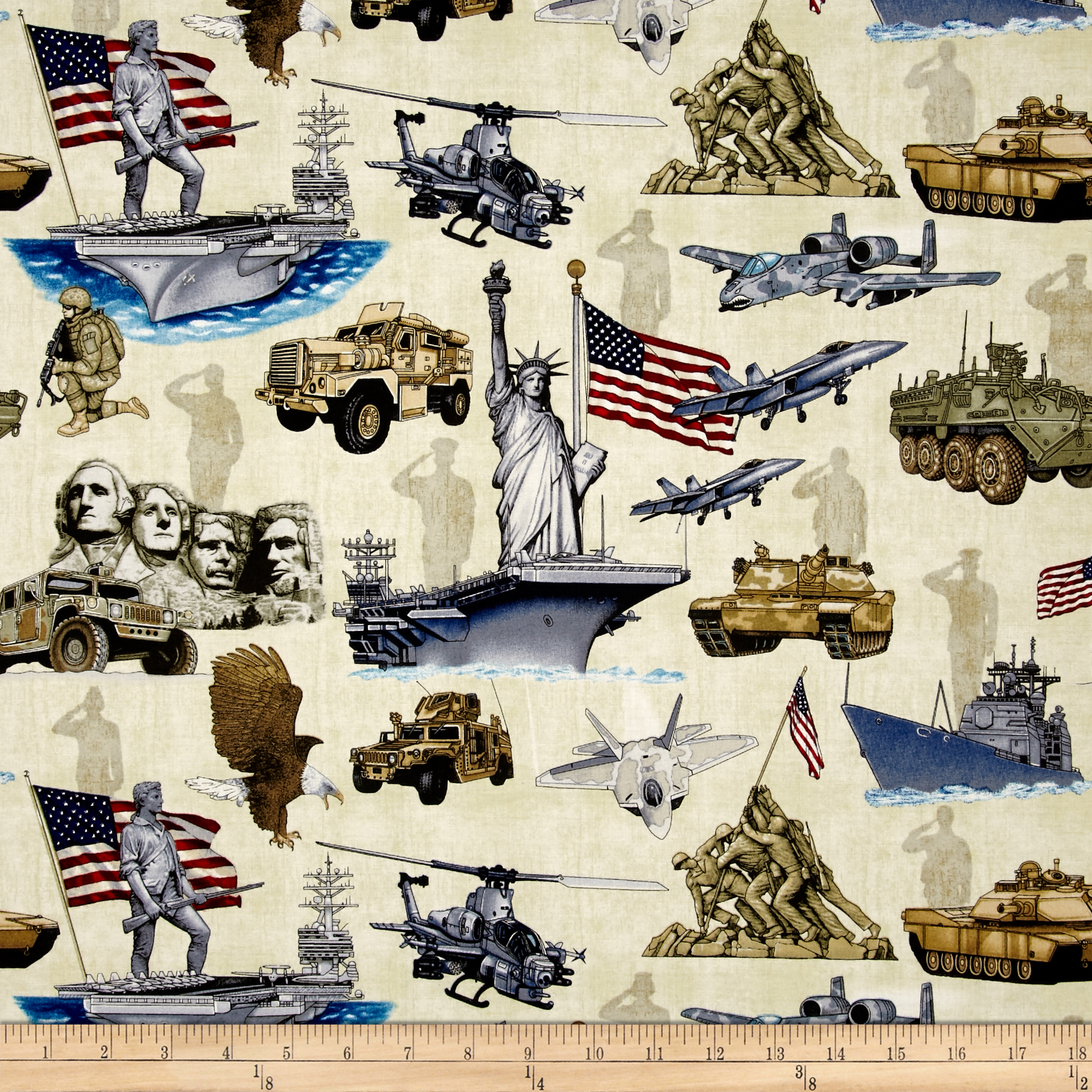 Home Of The Brave Patriotic Icons Oatmeal Fabric by Quilting Treasures in USA