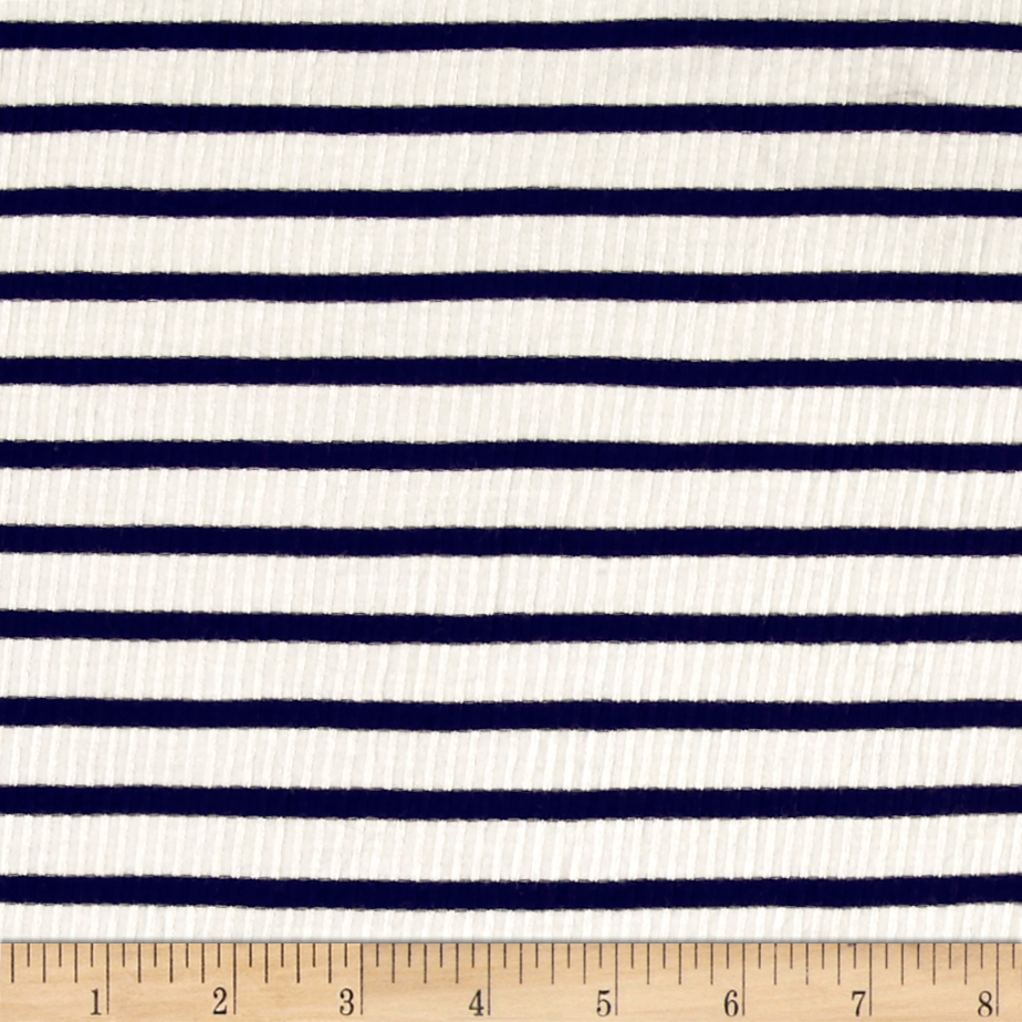 Rib Knit Stripe Ivory/Navy Fabric 0451197