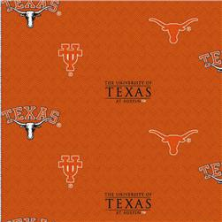 Collegiate Cotton Broadcloth University of Texas Allover Orange