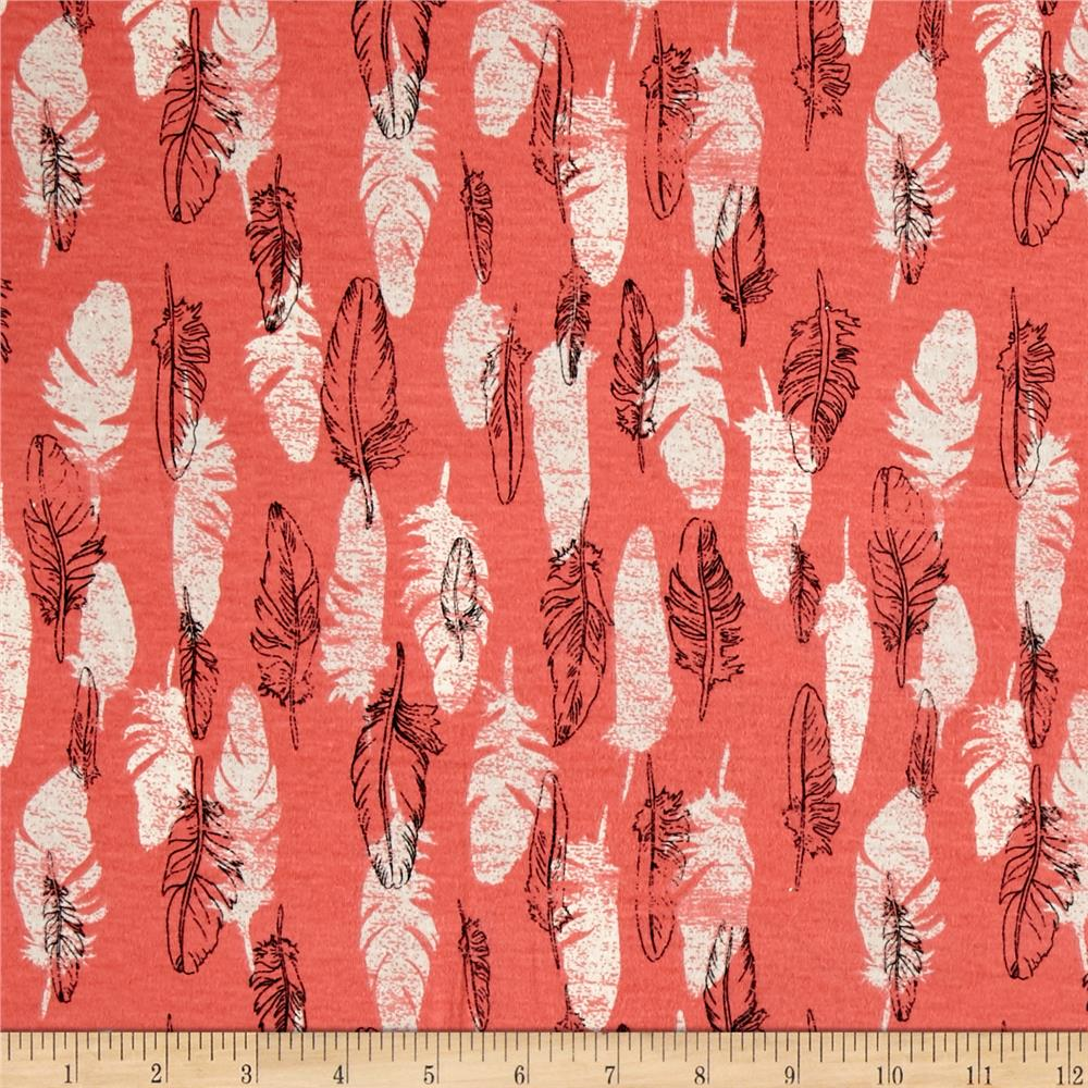 Cotton Jersey Knit Feathers on Coral