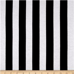 Rayon Spandex Jersey Knit Horizontal Stripes Black/White