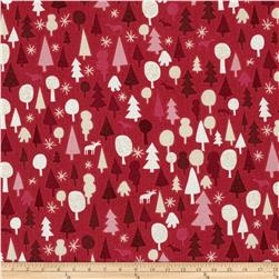 Modern Christmas Forest Red