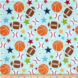 Riley Blake Play Ball Flannel Main Aqua