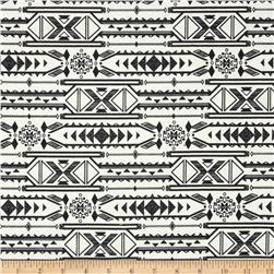 Poly Rayon Ponte Roma Knit Aztec Black/White Fabric