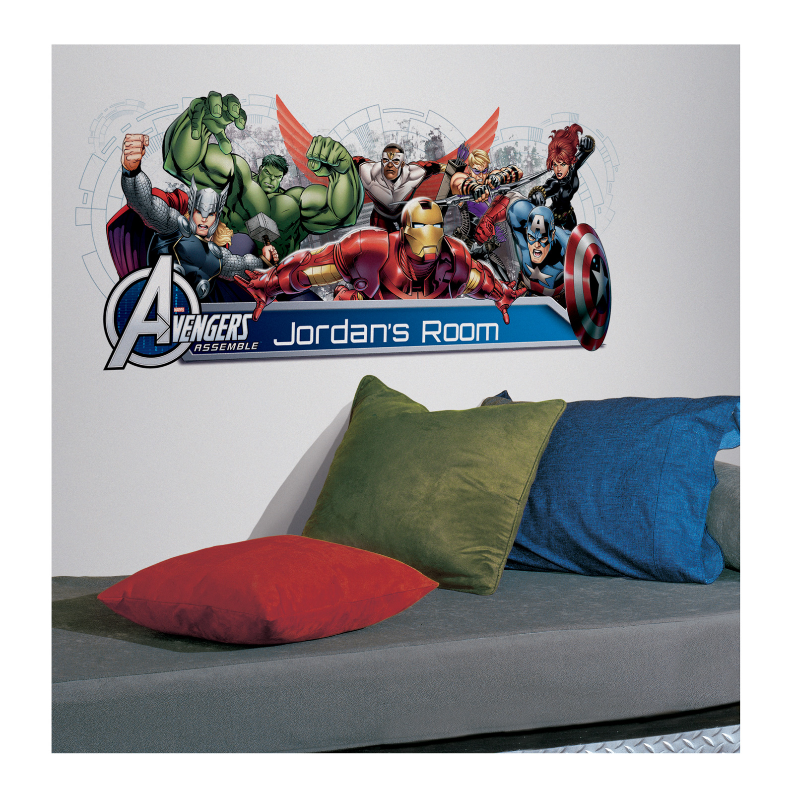 Image of Avengers Assemble with Headboard Wall Decal