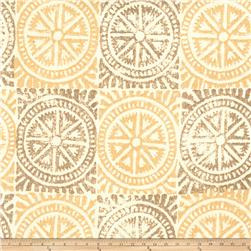 Fabricut Chariot Wheels Linen Blend Gold & Grey