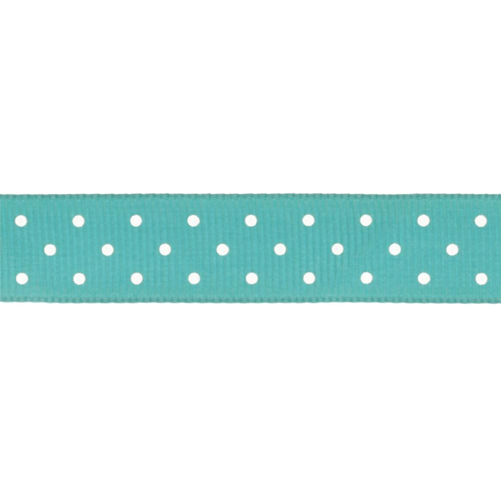 "Riley Blake 5/8"" Grosgrain Ribbon Mini Dot Teal"