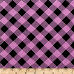 Printed Jersey Knit Black Checker Plaid on Lavender