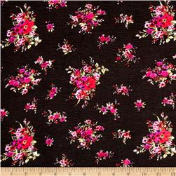 Jersey Knit Floral Purple Black