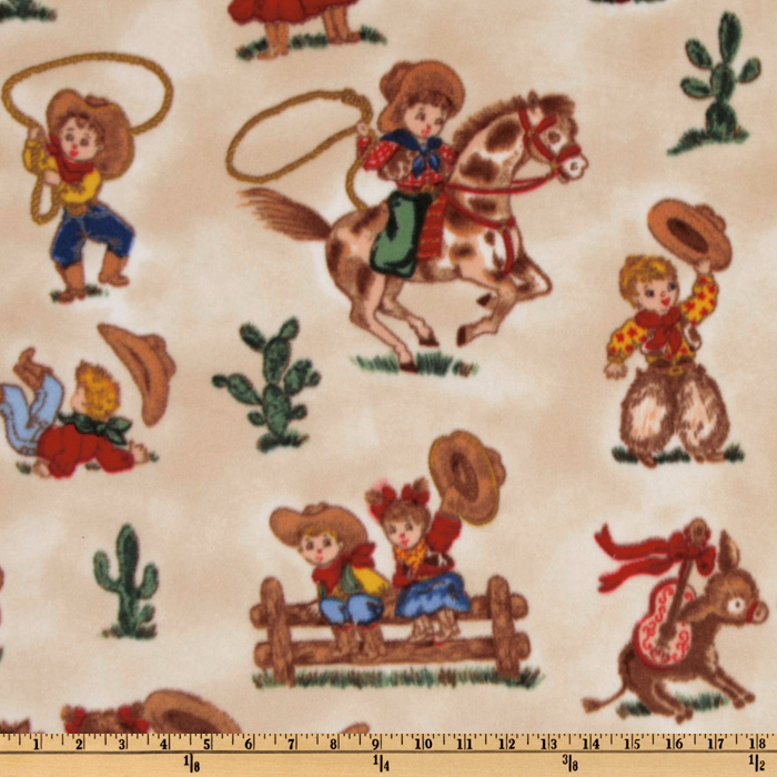 WinterFleece Micro Chamois Cowboys & Cowgirls Cream Fabric