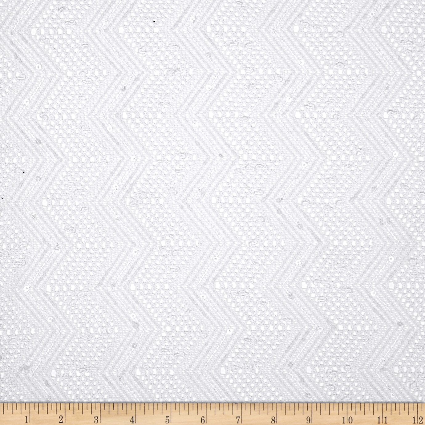 Seaside Lace Chevron White Fabric
