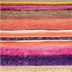 Fine Gauge Slub Hatchi Knit Stripe Purple/Magenta