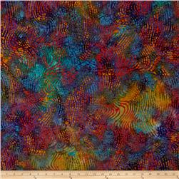 Indian Batik Swirl Tea/Blue/Red