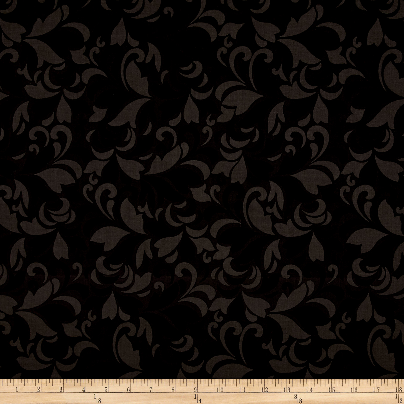 Flint Scroll Black Fabric by Red Rooster in USA