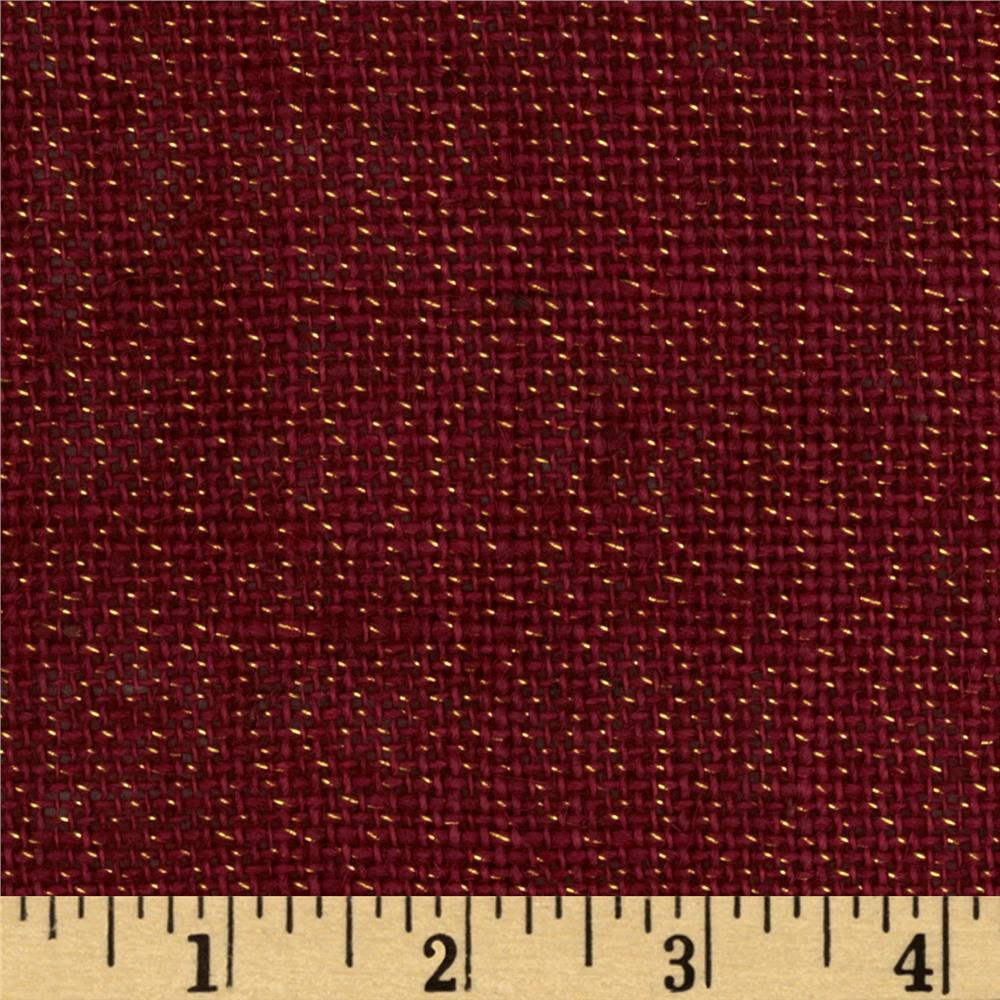 Metallic Burlap Burgundy
