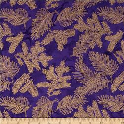 Island Batik Metallic Branches Purple/Gold