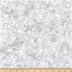 Kaufman Winter Grandeur Metallic Scroll Silver