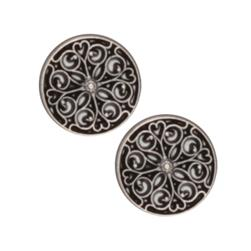 Metal Button 5/8'' Filagree Hearts Antique Silver