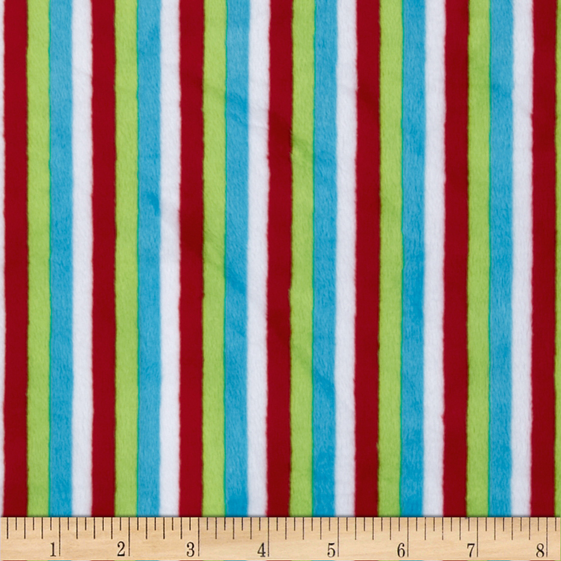 Minky Cuddle Stripe Red/Dark Lime Fabric