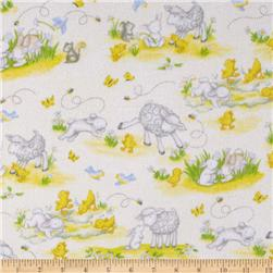 Buttercup Babies Flannel Tossed Baby Animals White