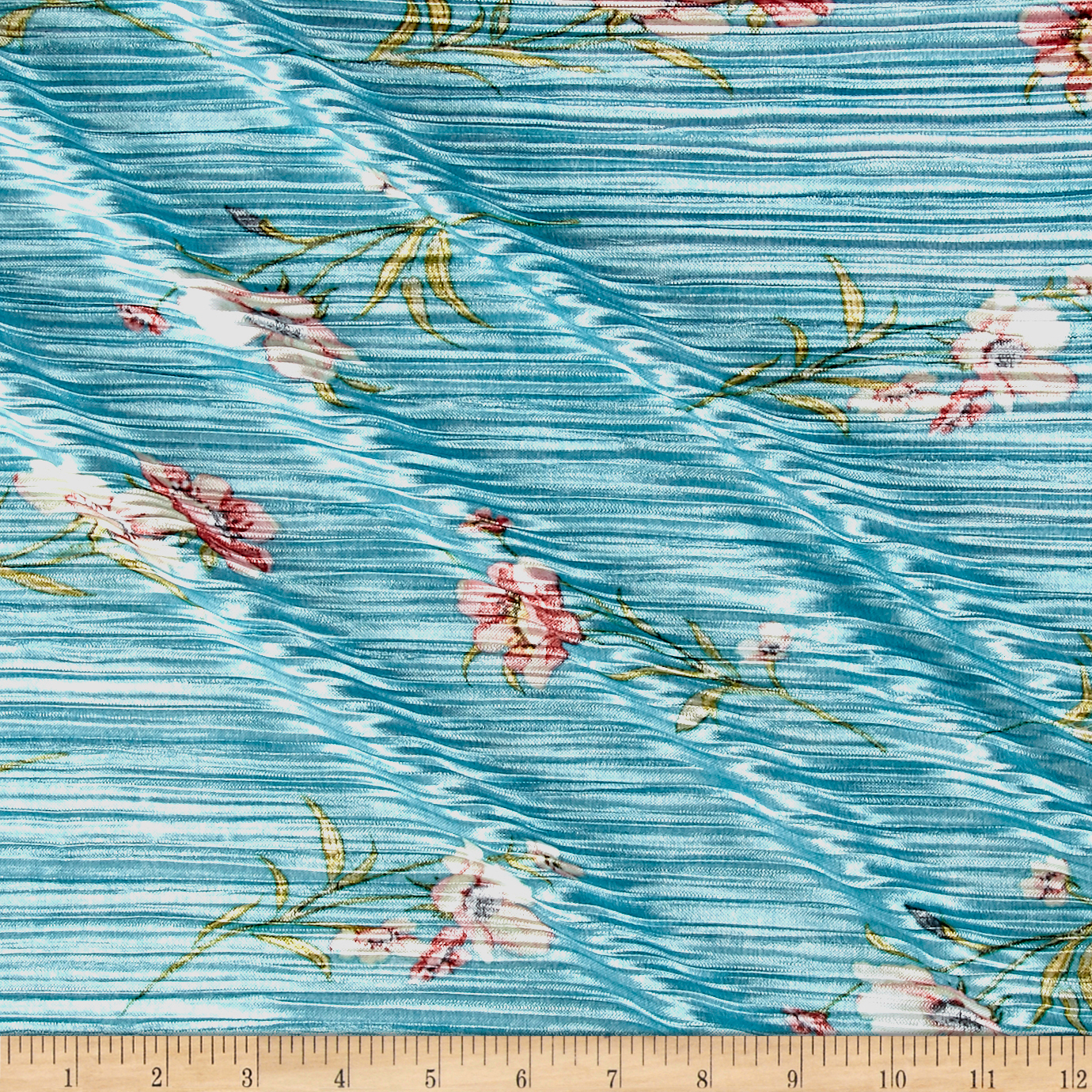 Crinkle Tricot Knit Floral Mint Blue/Green Fabric