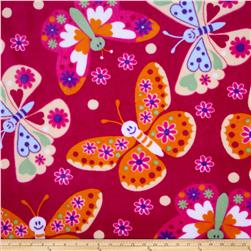Plush Coral Fleece Tossed Butterflies Fuchsia Fabric