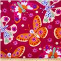 Plush Coral Fleece Tossed Butterflies Fuschia