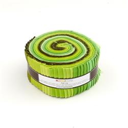 "Robert Kaufman Kona Solids Pleasant Pastures 2.5"" Jelly Roll"