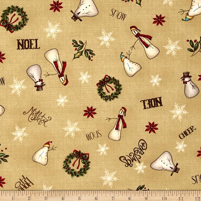 Christmas Whimsy Snowman Toss Beige