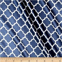 Silky Satin Charmeuse Lattice Navy/Snow