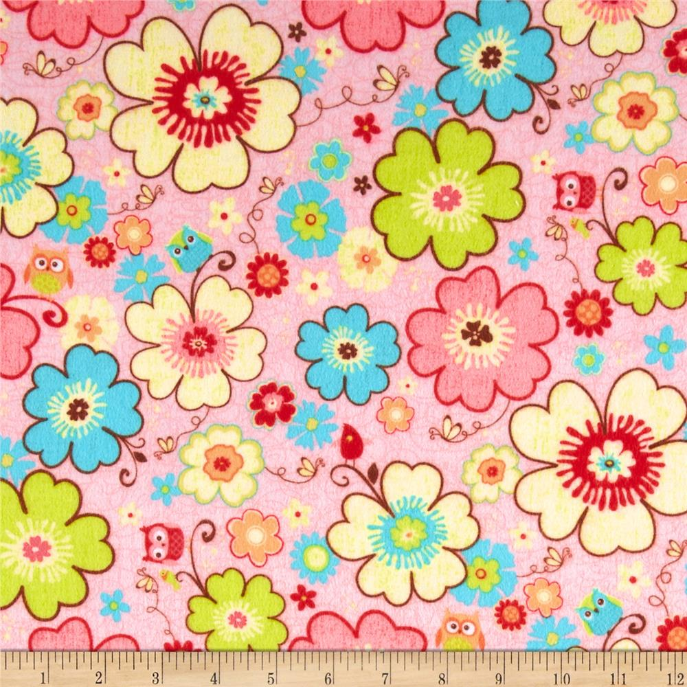 Riley Blake Happy Flappers Flannel Main Pink