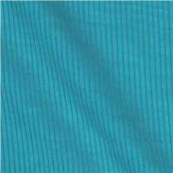 Stretch Hemp Rayon 2 x 1 Rib Knit Aqua