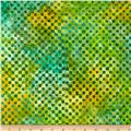 Michael Miller Batiks Whirlpool Clown Check Caribbean Green