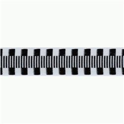 1'' Jacquard Ribbon Check Stripes Black/White
