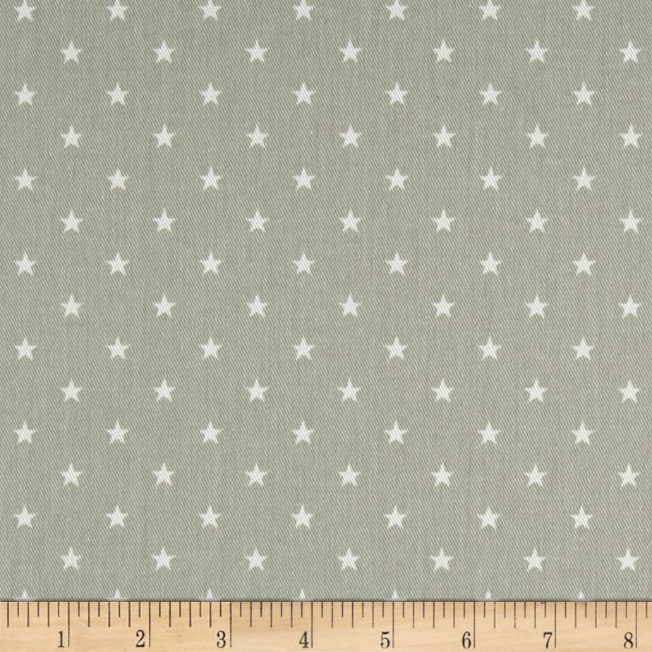 Premier prints mini star twill snowy grey white discount for Star design fabric