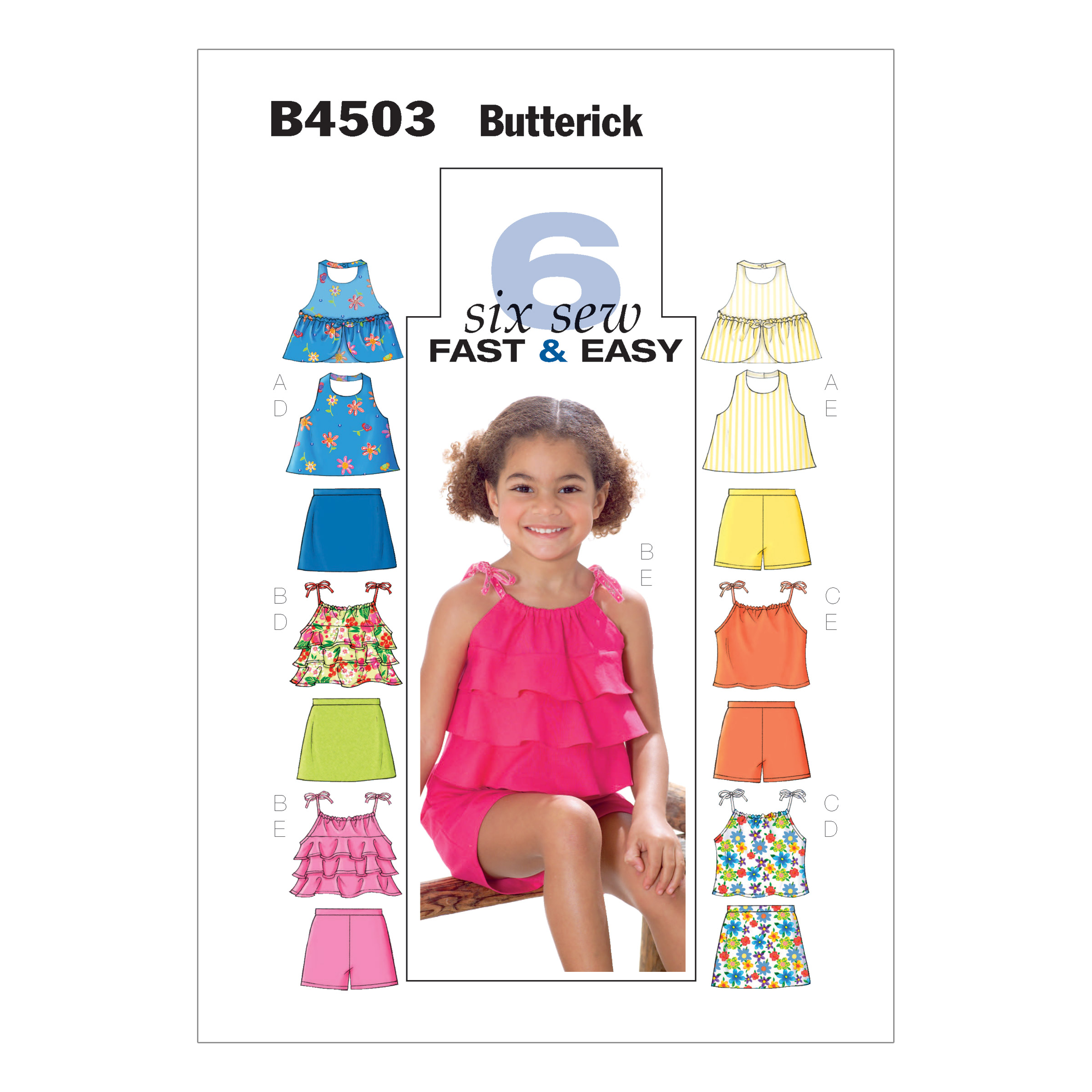 Image of Butterick Children's/Girls' Top Skort and Shorts Pattern B4503 Size CDD