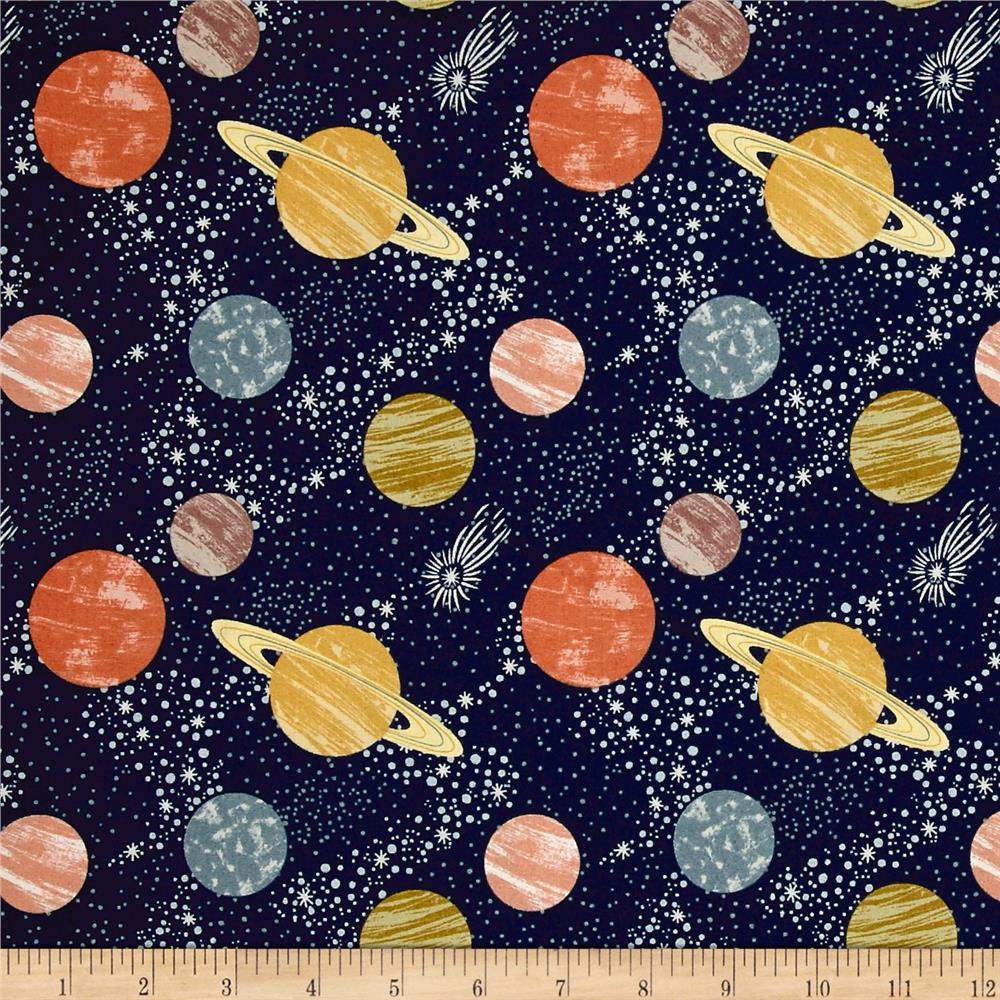 To the moon back planets navy discount designer fabric for Space themed fleece fabric