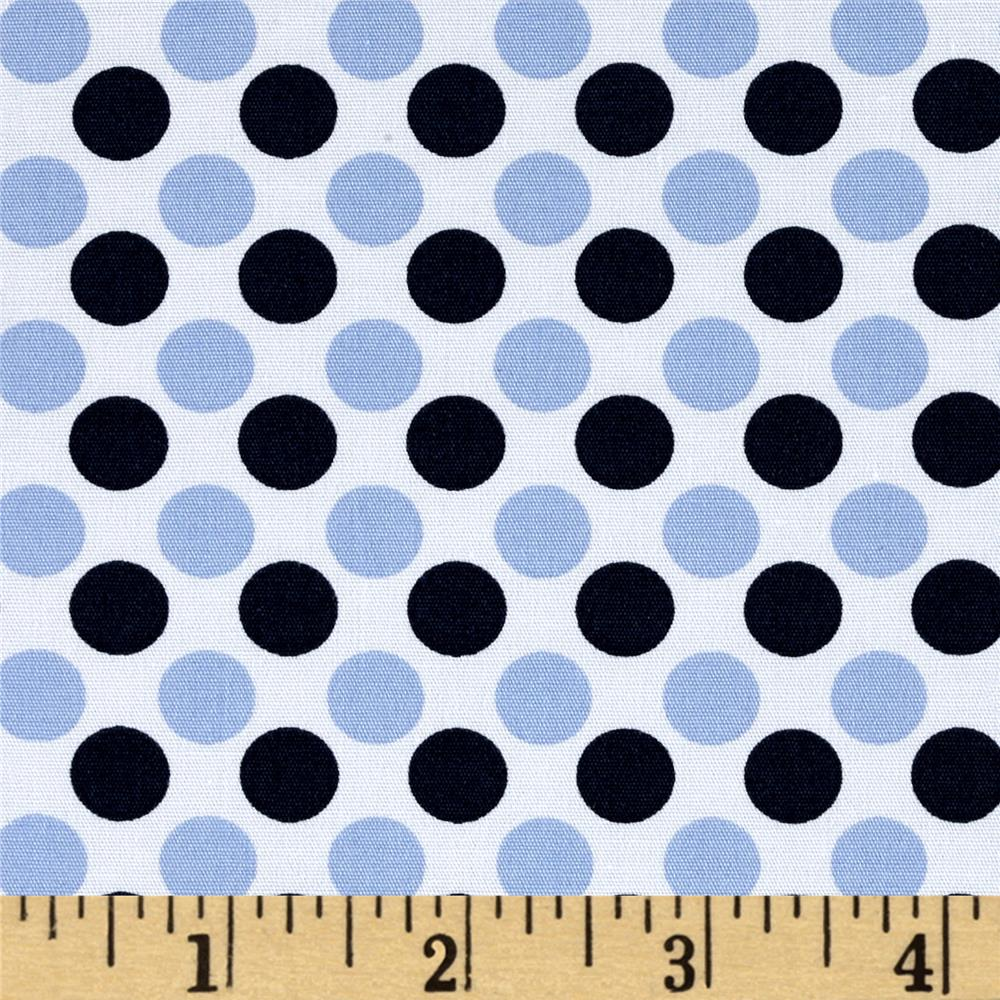 Telio Morocco Blues Stretch Poplin Dot Print White/Blue