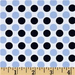 Morocco Blues Stretch Cotton Shirting Dot Print White/Blue