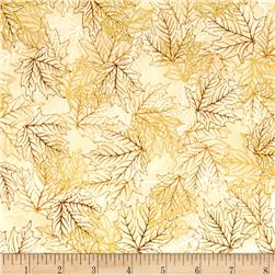 Kaufman Shades of the Season Metallic Leaf Etching Spice
