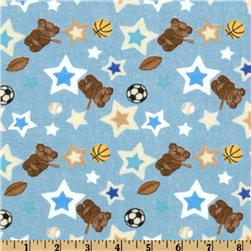 Alpine Teddy Bear Sports Flannel Tossed Bears Blue