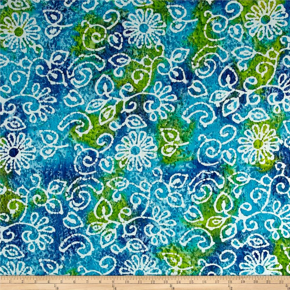 Indian Batik Crinkle Cotton Print Floral Scroll Blue Green