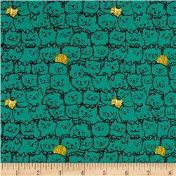 Cotton & Steel Cat Lady Stack O Cats Teal