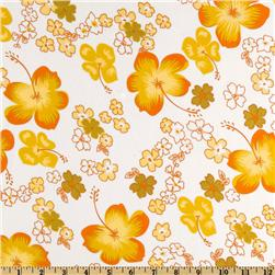 Angeline Chiffon Floral Orange/White