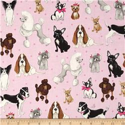 Kaufman Whiskers & Tails Dog Collage Pink